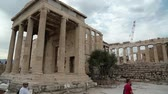 atina : GREECE, ATHENS, JUNE 7, 2013: Tourists in Athenian Acropolis in Greece Stok Video