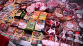 консервы : UKRAINE, KIEV, NOVEMBER 30, 2013: Grocery store counter with meat and cheese products in Kiev, Ukraine, November 30, 2013