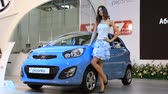 kia : KIEV, UKRAINE, MAY 26, 2011: Blue KIA Picanto at the yearly automotive-show SIA 2011. Stock Footage