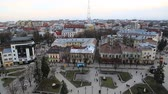 UKRAINE, IVANO-FRANKIVSK, FEBRUARY 23, 2017: Top view on the city from Ratusha or Town Hall in Ivano-Frankivsk city, building in center of Ivano-Frankivsk city on Rynok or Market Square
