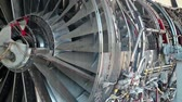 Aircraft reaction turbine. View through glass window