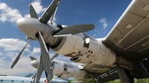 Motors of old TU-142 VPMK Bear-F Mod 4 Long-Range ASW propeller-driven aircraft in aviation museum in Kiev, Ukraine, located near Zhulyany airport. Soviet aviation industry civil and military airplanes Stock Footage