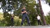 shu : UKRAINE, KIEV, SEPTEMBER 18, 2016: Demonstrations of martial arts at the Feofania park in Kiev. Event helps young people choose sport hobbies and find themselves in life Stock Footage