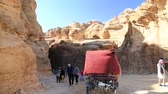 siq : JORDAN, PETRA, DECEMBER 5, 2016: People in Siq - a narrow passage, gorge that leads to Petra, originally known to Nabataeans as Raqmu - historical and archaeological city in Hashemite Kingdom of Jordan Stock Footage