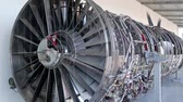 turbofan : Big aircraft reaction turbine. View through glass window