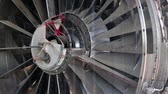 turbofan : Front end of aircraft reaction turbine Stock Footage