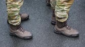 harcias : Feet of soldiers. Soldiers in military uniform. Servicemen at the military parade