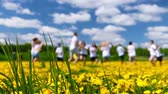 catching the wind : Meadow of dandelions, teens playing Stock Footage