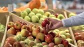 supermarket : Mans hand with apples Stock Footage