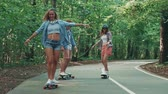 skateur : Happy youth on skateboards in the park Vidéos Libres De Droits