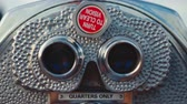 뉴욕시 : Silver binoculars at the view point, close-up 무비클립