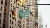 뉴욕시 : Red traffic light on a street in new york 무비클립
