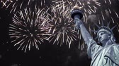 Seamless loop - Statue of liberty, night sky with fireworks, HD video Stock Footage