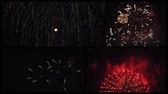 Collection of fireworks, music videos collage