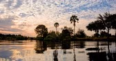 Seamless loop, landscape of the Zambezi river at sunset in Zambia Africa, african nature travel and tourism concept - Video 4K Stock Footage