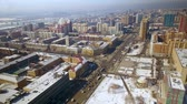Hyper lapse flying over a busy city street in Novosibirsk