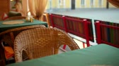 recession : Wicker chair in an empty cafe. The camera moves Stock Footage
