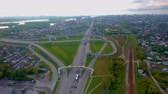 Hyperlapse city street intersection traffic circle roundabout in Novosibirsk