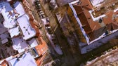 coldness : The copter flies over winter street in the city of Novosibirsk. View down. 4K Stock Footage
