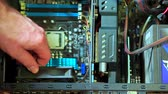 anakart : Close-up of male hand uninstalling fun in PC. Personal computer repair Stok Video