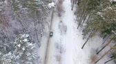 zasněžený : Aerial view of the car moving in the winter forest. Drone flying behind the car Dostupné videozáznamy