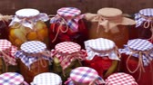 preserved : Storing of organic fruits and vegetables. Agriculture. Harvesting food products of rural farmers. Stock Footage