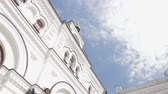 rite : Beautiful Orthodox Church on the sky background. Architecture of the old town. Catholic Church. Ancient monastery.