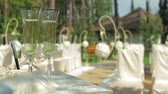 furniture : Wedding glasses with champagne.