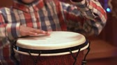 djembe : Black kid with drum. Stock Footage
