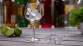 citrus fruit recipe : Ice cubes falling into glass. Limes beside a wineglass. Workplace of bartender in restaurant. Cubes of ice on table.