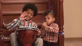 improvise : Boys with music instruments. Drum and flute. Duet of young talents. Celebrate holidays with music. Stock Footage