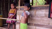 timid : Children living in the jungle. Shy kids. Bamboo huts. Stock Footage