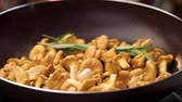 cantharellus : Chanterelles in a pan. Mushrooms with garlic and rosemary.