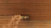 arazi sahibi : Combine on field, aerial view. Agriculture and technology.