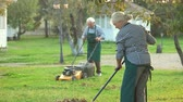 lawn : Couple of elderly gardeners working. Lawn mower and rake. How to keep garden clean.