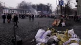 отставка : Kiev after the revolution.Ruined city by war. Rebels on the barricades.