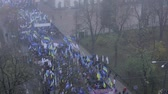 отставка : Protests in Kiev. Beginning of the revolutionary events in Ukraine. Стоковые видеозаписи