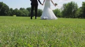 recien casados : Bride and groom enjoy each other. Newlyweds running holding hands. Wedding on the lawn. The figures of the bride and groom. Archivo de Video