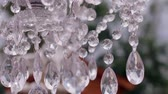 special : Beautiful crystal chandelier with a light cloth on the wedding ceremony. Wedding day. Stock Footage