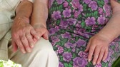 symbol of respect : Grandfather gently stroking grandmother hands. Old hands.