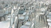 vaticano : Chairs at Saint Peter square. Empty chairs outdoor.