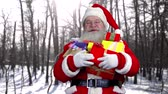 papai noel : Happy Santa holding presents outdoor. Santa Claus laughing, forest background. Stock Footage