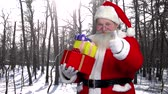 kind : Santa holding presents outdoor. Santa Claus, forest background.