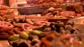 ziyafet : Roasted sausages and mushrooms. Tasty food macro. Stok Video
