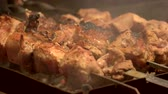 деликатес : Shashlik being cooked macro. Meat on skewers. Best outdoor cooking recipes. Стоковые видеозаписи