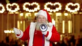 duyurmak : Santa Claus with loudspeaker. Santa at the Christmas fair. Inspirational holiday speech.