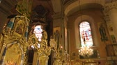 lviv : Dormition church interior, Lviv. Beautiful architecture, orthodox icons. Role of art in religion. Stock Footage