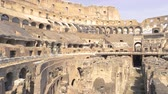 flavian : Ruins of Colosseum. Ancient building and people.