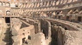 flavian : Inner part of Coliseum. Old ruins and sunlight. Stock Footage