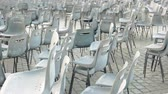 vaticano : Empty chairs, Saint Peter square. Rows of chairs outdoor.